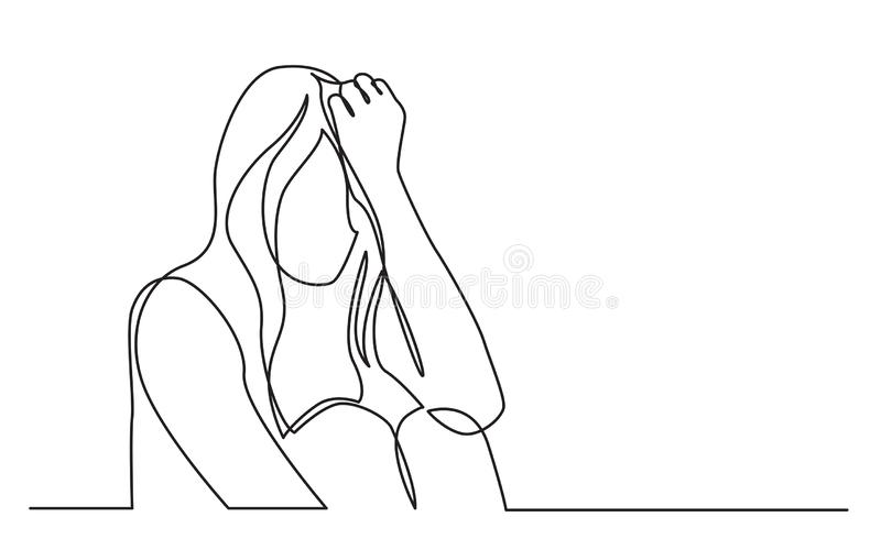 Continuous line drawing of addicted woman in despair stock illustration