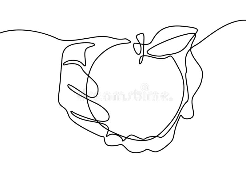 Continuous line drawing Apple in hand. Vector illustration. royalty free illustration