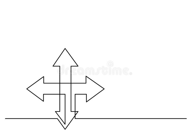 Continuous line drawing of arrows to four directions stock illustration