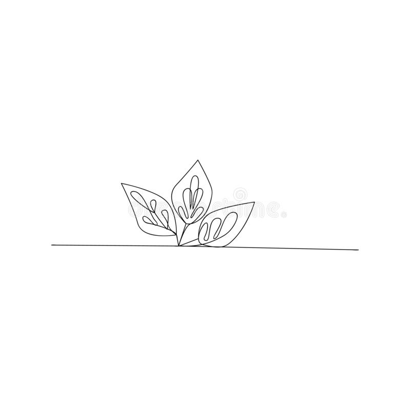 continuous line drawing of art growing sprout. isolated sketch drawing of art growing sprout line concept. outline thin stroke vector illustration