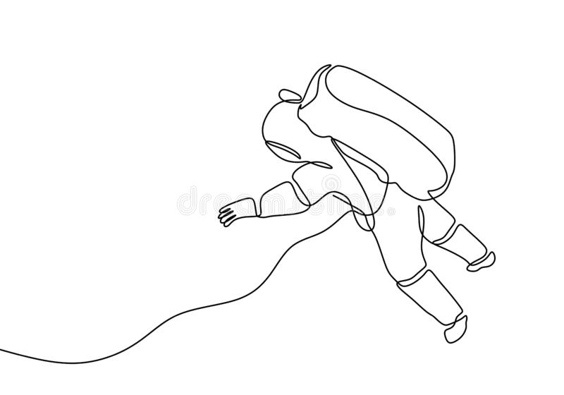 Continuous line drawing astronaut minimalist design on space travel one single hand drawn minimalism stock illustration