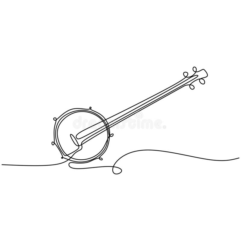continuous line drawing banjo music instrument vector illustration minimalist design vector illustration