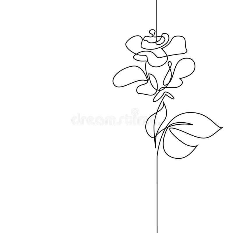 Beautiful Flower Line Drawing : Continuous line drawing of beautiful flower stock vector