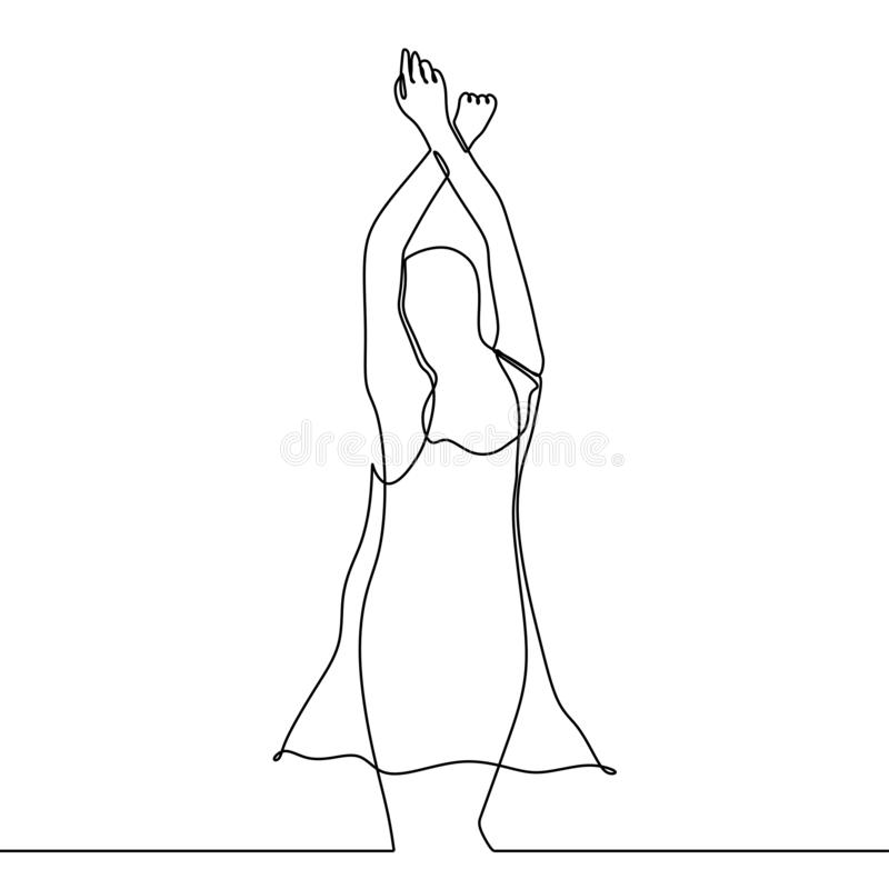 Continuous line drawing of beauty girl abstract minimalism raising her hands up. Vector, illustration, isolated, sketch, one, graphic, outline, linear, concept royalty free illustration