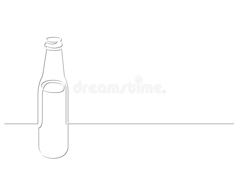 Continuous line drawing of beer bottle royalty free illustration