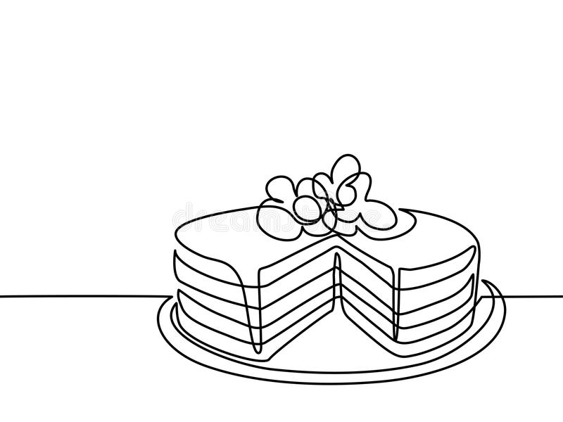 Line Drawing Cake : Continuous line drawing of big cake stock vector