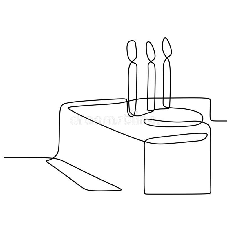 Continuous line drawing Birthday cake with candle. Symbol of celebration happy moment on white background vector illustration. Minimalism, design, party, one vector illustration