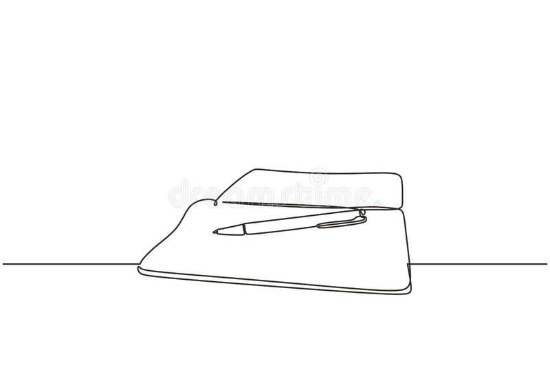 Continuous line drawing of book and pen one lineart hand drawn isolated on white background. Education supplies back to school. Theme minimalist design stock illustration