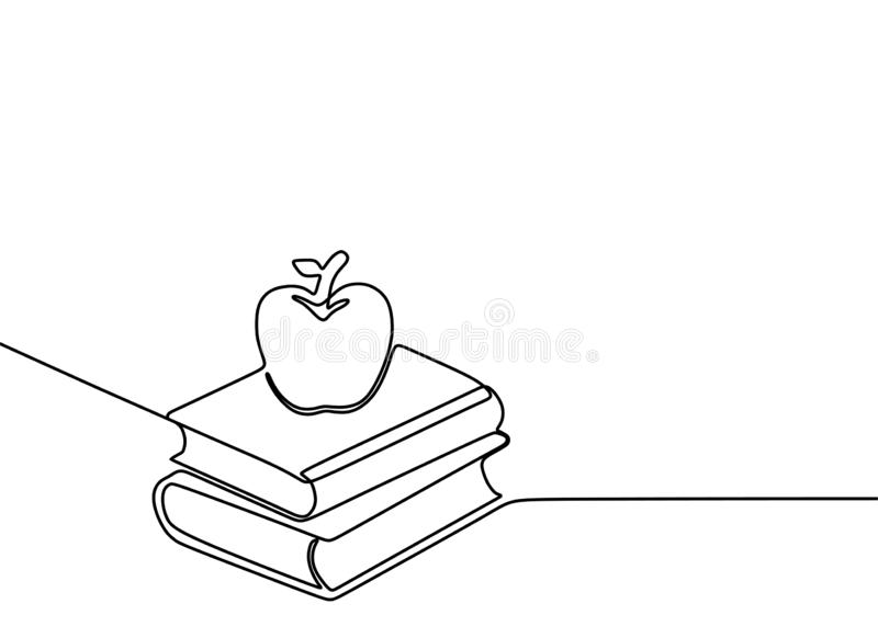 Continuous line drawing of book vector education theme isolated on white background minimalist design. Notebook, banner, concept, contour, creative, graphic vector illustration