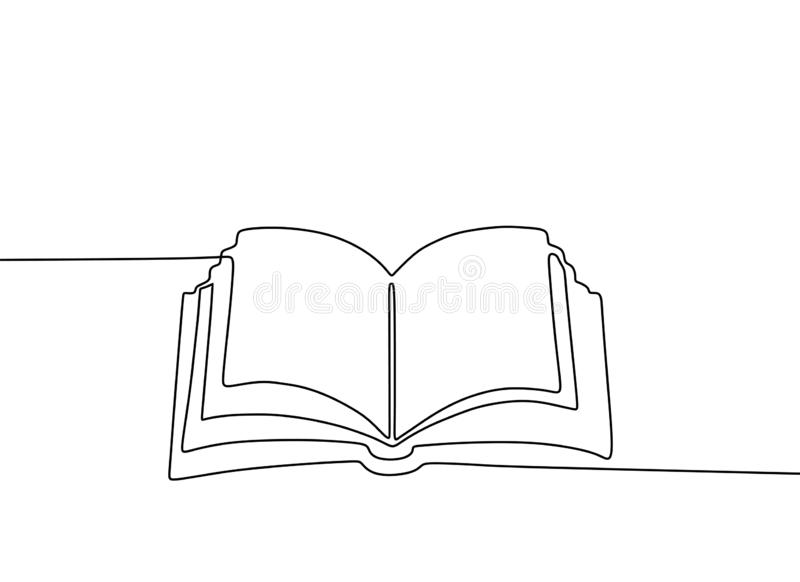 Continuous line drawing of book vector education theme isolated on white background minimalist design. Notebook, banner, concept, contour, creative, graphic royalty free illustration