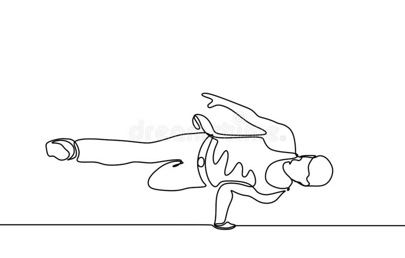 Continuous line drawing break dancer dancing sport theme isolated on white background minimalist design royalty free stock photography