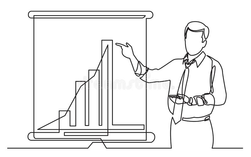 Continuous line drawing of business coach showing increasing marketing diagram on presentation screen stock illustration