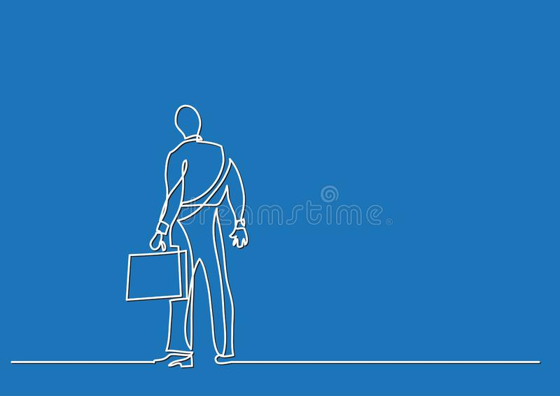 Continuous line drawing of business concept - businessman standing facing hard choices royalty free illustration
