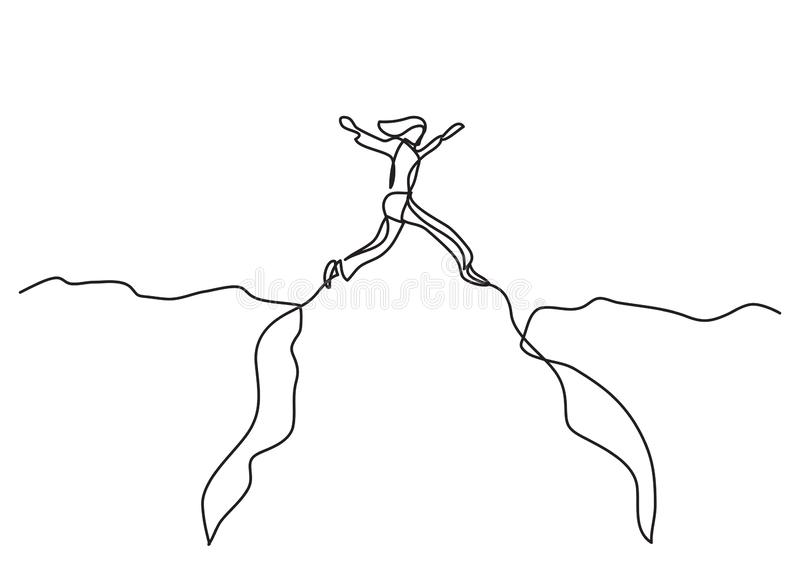 Continuous line drawing of business concept - woman jumping over canyon. Vector linear illustration royalty free illustration