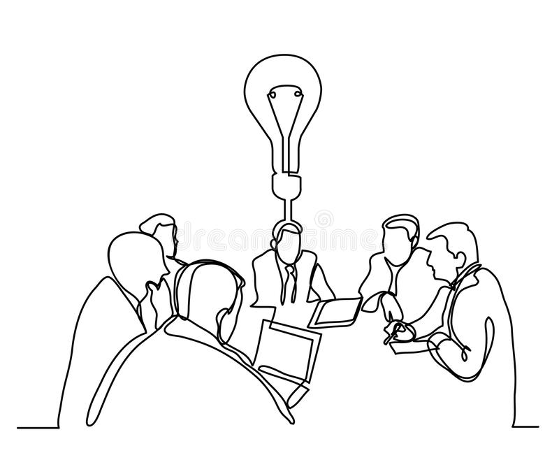 Line Drawing Editor : Continuous line drawing of business meeting with idea