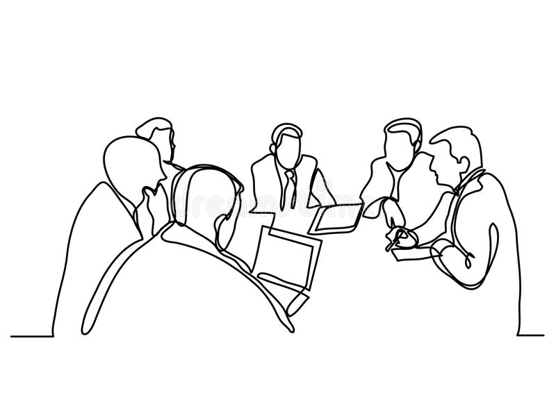 Continuous line drawing of business meeting vector illustration