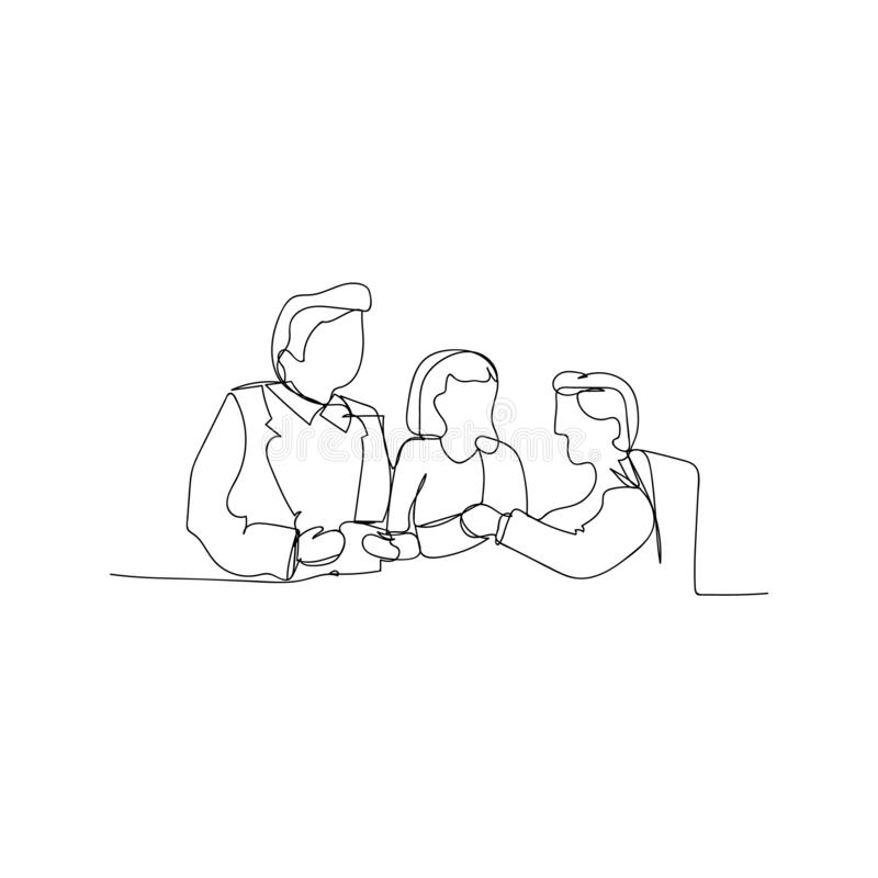 continuous line drawing of business meeting. isolated sketch drawing of business meeting line concept. outline thin stroke vector royalty free illustration