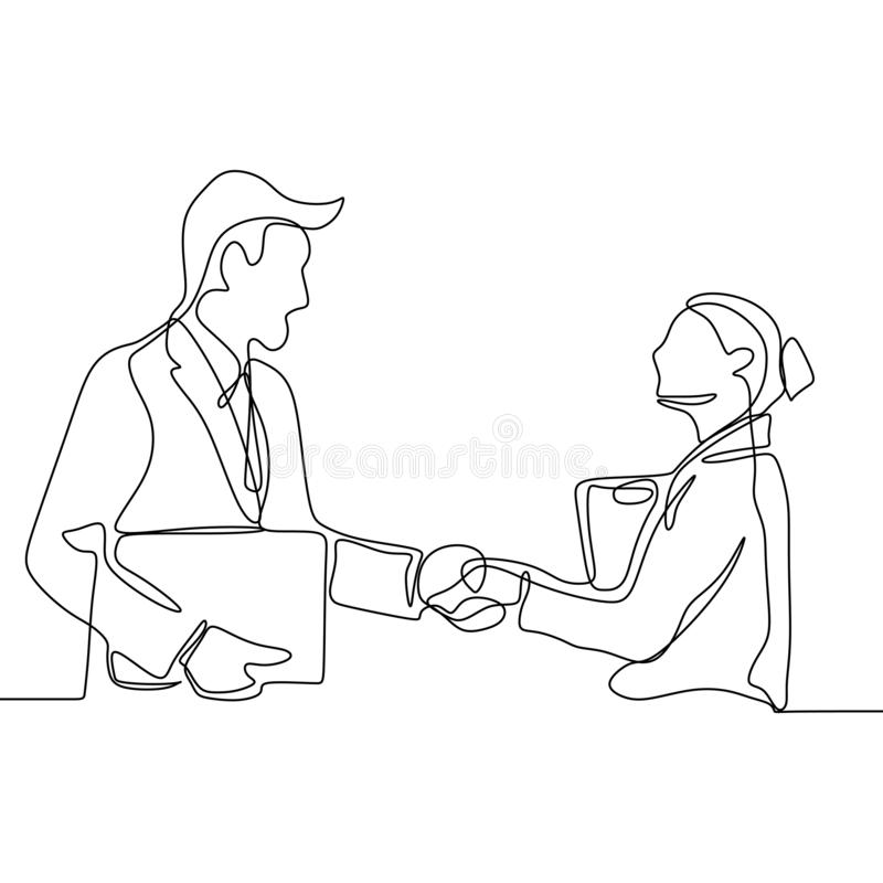 continuous line drawing of business persons shaking hands. Concept of a couple finishing their project vector illustration