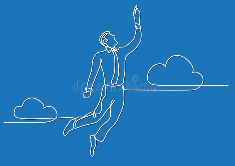 Continuous line drawing of business situation - businessman flying high. Vector linear illustration vector illustration