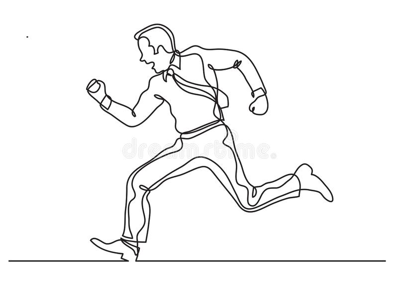 Continuous line drawing of business situation - businessman running fast. Vector linear illustration stock illustration