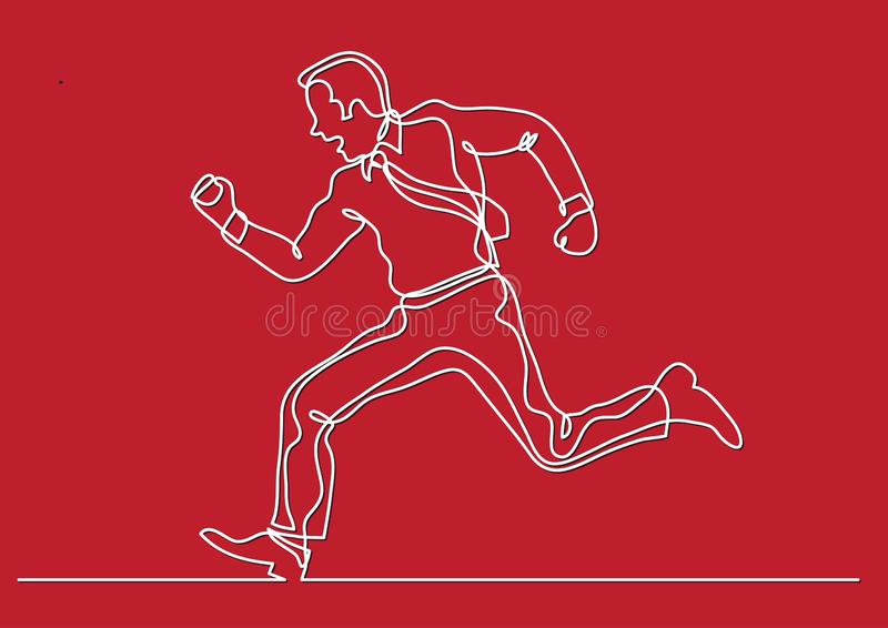 Continuous line drawing of business situation - businessman running fast. Vector linear illustration vector illustration
