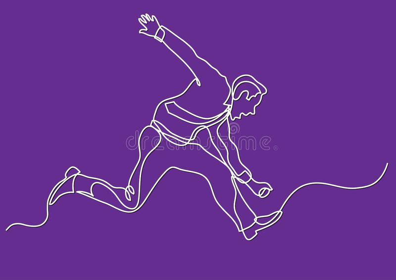 Continuous line drawing of business situation - businessman running wild. Vector linear illustration stock illustration