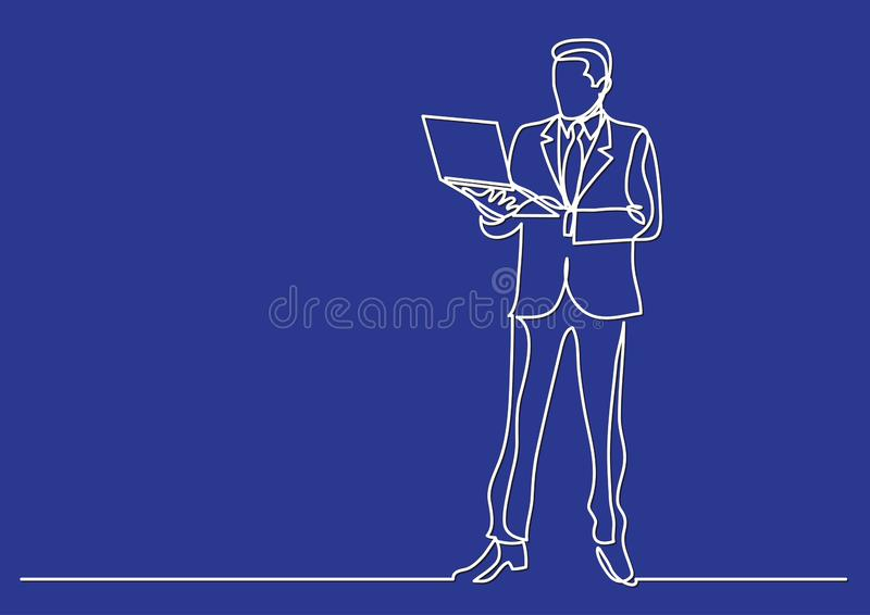 Continuous line drawing of business situation - businessman standing with laptop computer. Vector linear illustration stock illustration
