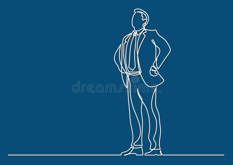 Continuous line drawing of business situation - happy confident standing businessman. Vector linear illustration royalty free illustration
