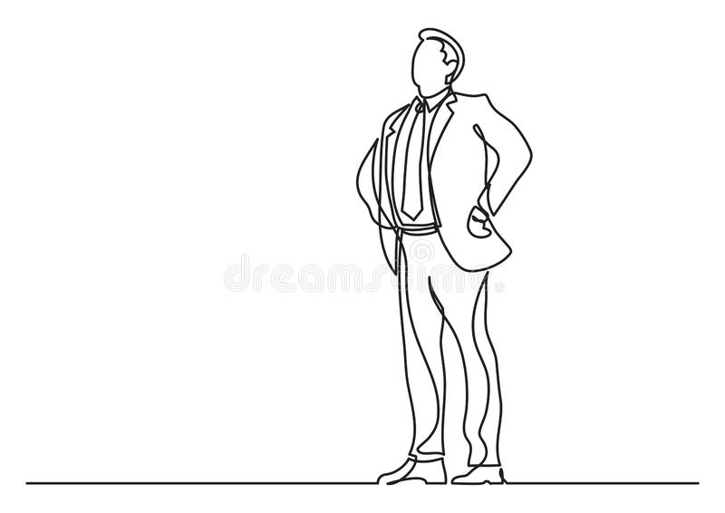 Continuous line drawing of business situation - happy confident standing businessman. Vector linear illustration vector illustration