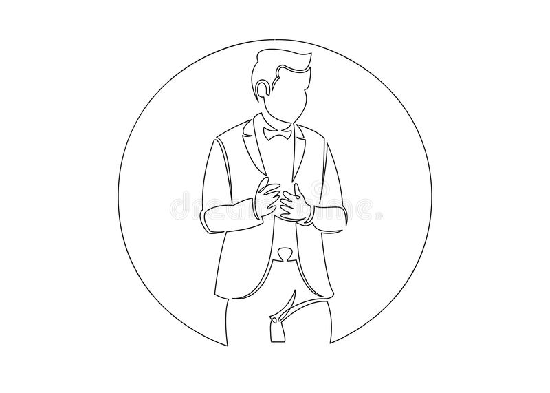 Continuous line drawing of business situation - happy confident standing businessman. Round logo royalty free illustration