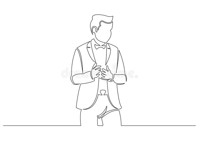 Continuous line drawing of business situation - happy confident standing businessman. Round logo stock illustration