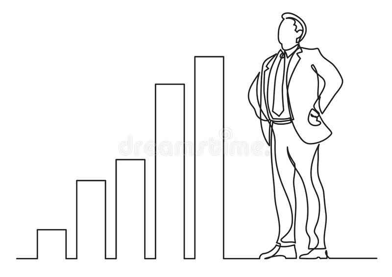 Continuous line drawing of business situation - happy confident standing businessman with increasing charts. Vector linear illustration vector illustration