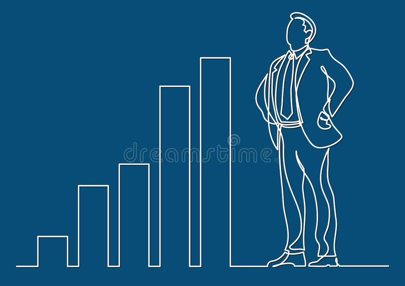 Continuous line drawing of business situation - happy confident standing businessman with increasing charts. Vector linear illustration royalty free illustration
