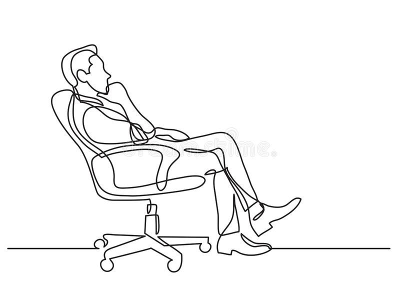 Continuous line drawing of business situation - man sitting in office chair thinking. Vector linear illustration royalty free illustration