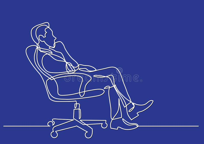 Continuous line drawing of business situation - man sitting in office chair thinking. Vector linear illustration stock illustration