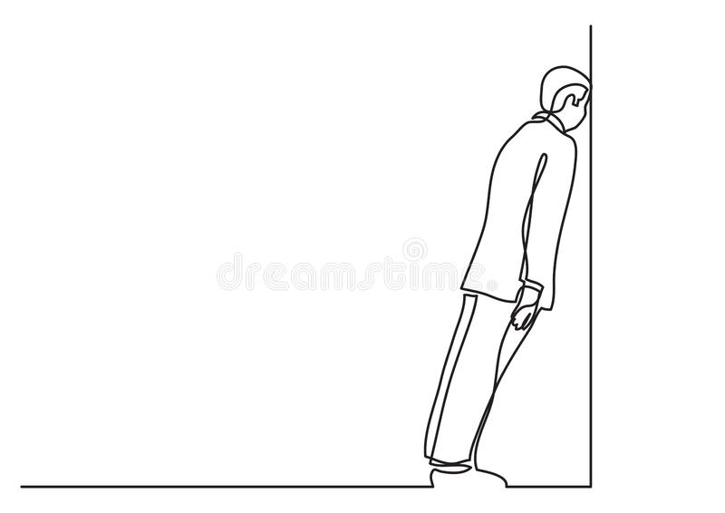 Continuous line drawing of business situation - man stuck in dead end job royalty free illustration