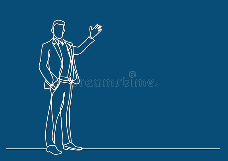 Continuous line drawing of business situation - standing businessman making presentation. Vector linear illustration vector illustration