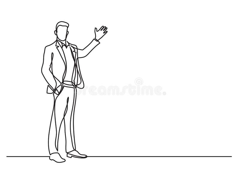 Continuous line drawing of business situation - standing businessman making presentation. Vector linear illustration royalty free illustration