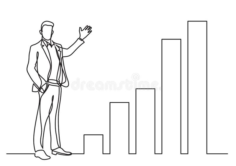 Continuous line drawing of business situation - standing businessman presenting rising charts. Vector linear illustration royalty free illustration