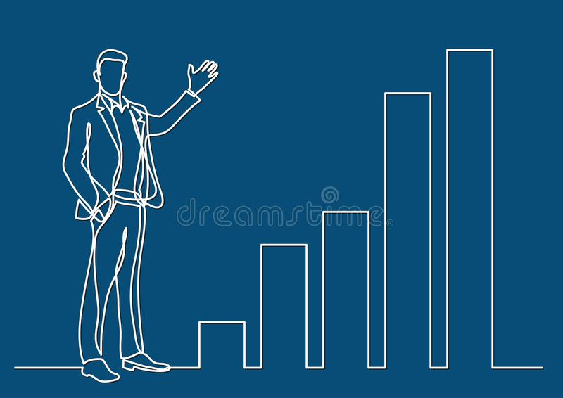 Continuous line drawing of business situation - standing businessman presenting rising charts. Vector linear illustration stock illustration