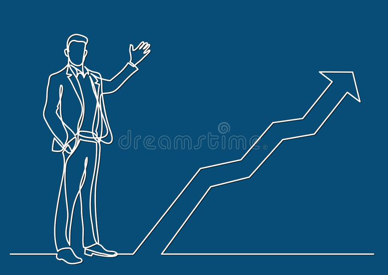 Continuous line drawing of business situation - standing businessman presenting rising diagram. Vector linear illustration stock illustration