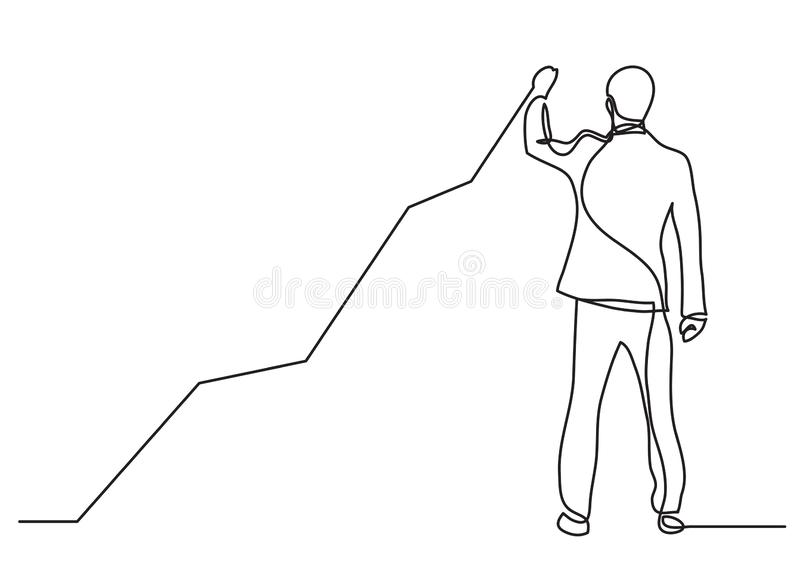 Continuous line drawing of business situation - standing businessman drawing rising diagram. Vector linear illustration vector illustration