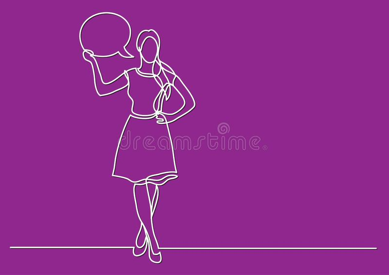 Continuous line drawing of business situation - standing woman presenting her opinion. Vector linear illustration royalty free illustration