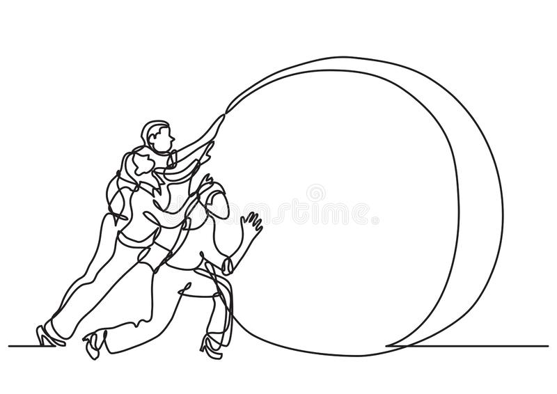 Continuous line drawing of business situation - team efforts. Vector linear illustration vector illustration