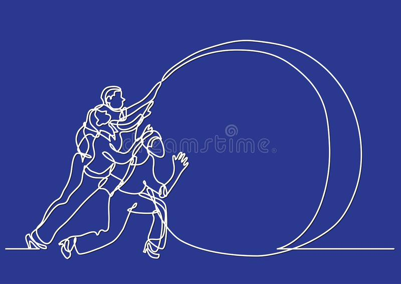 Continuous line drawing of business situation - team efforts. Vector linear illustration stock illustration