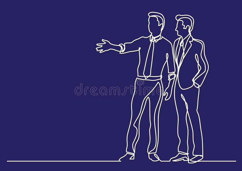 Continuous line drawing of business situation - two businessmen discussing plans. Vector linear illustration vector illustration