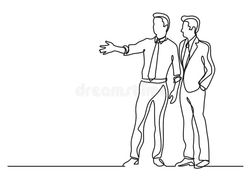 Continuous line drawing of business situation - two businessmen discussing plans. Vector linear illustration royalty free illustration