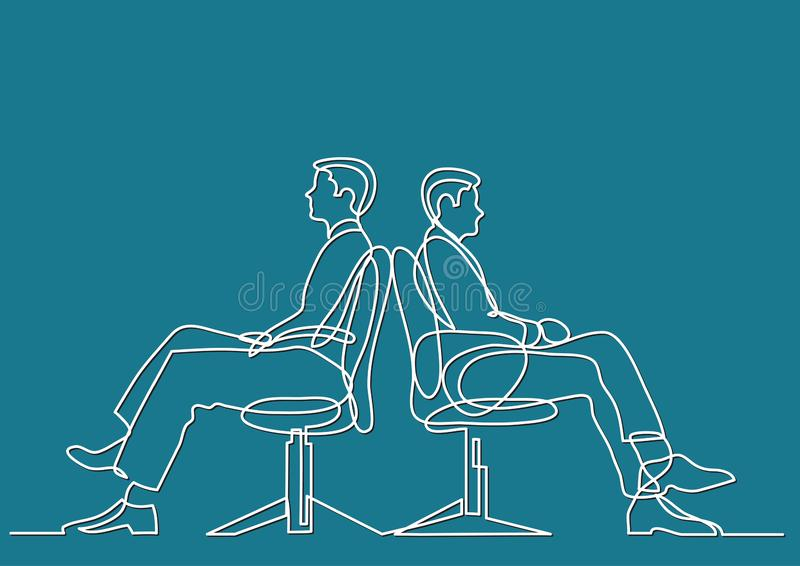 Continuous line drawing of business situation - two conflicting businessmen sitting. Vector linear illustration stock illustration
