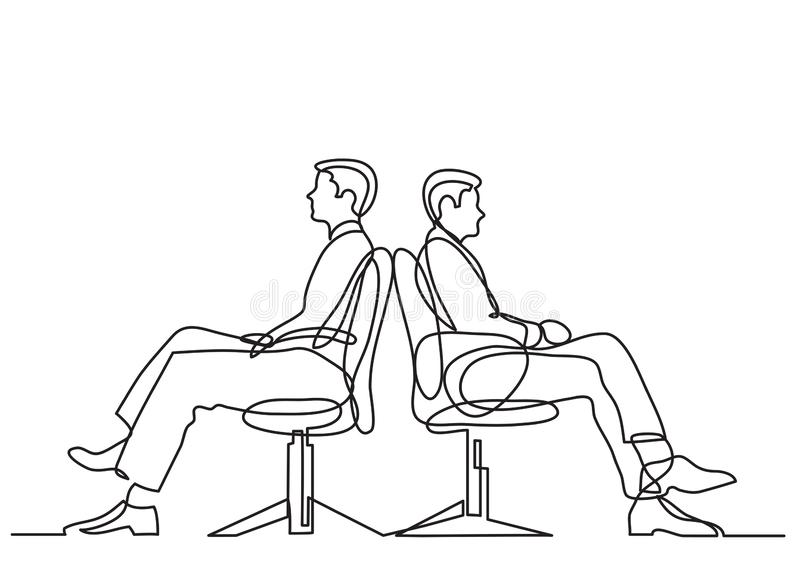 Continuous line drawing of business situation - two conflicting businessmen sitting. Vector linear illustration vector illustration