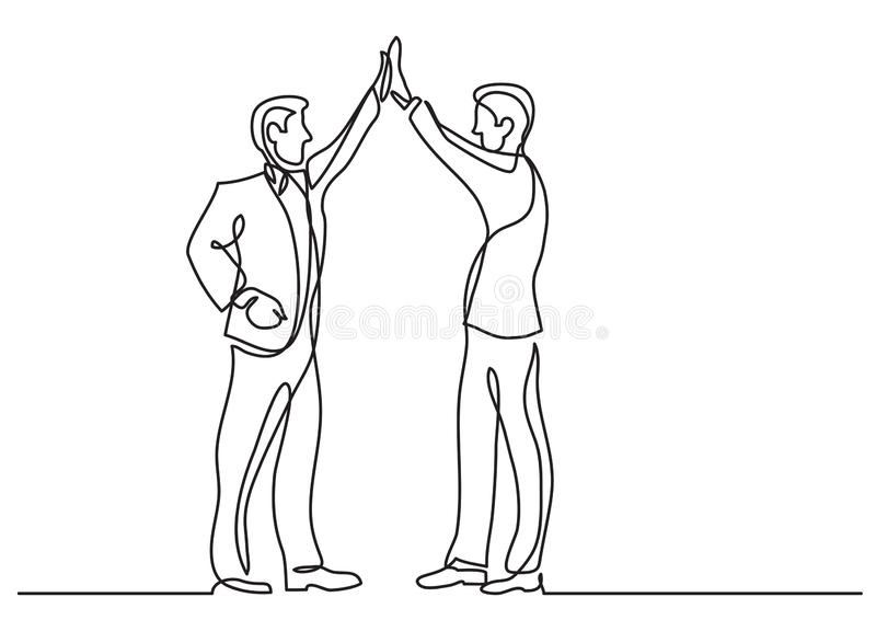 Continuous line drawing of business situation - two men doing high five. Vector linear illustration vector illustration